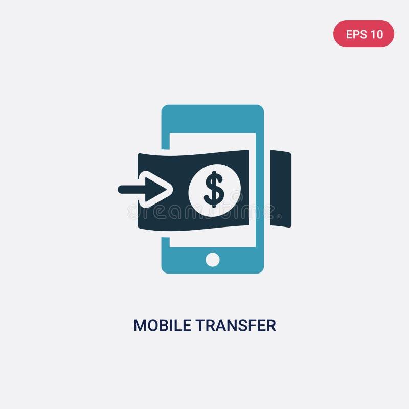 Dwa kolorów mobilnego przeniesienia wektorowa ikona od płatniczego metody pojęcia odosobniony błękitny mobilny przeniesienie wekt ilustracja wektor