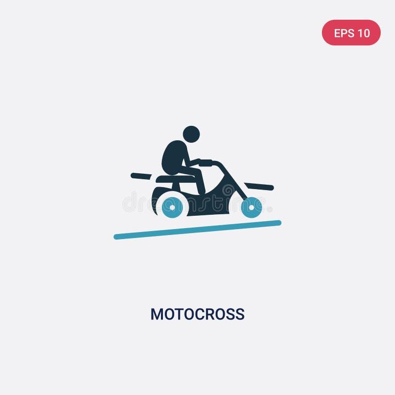 Dwa kolorów motocross wektorowa ikona od sporta pojęcia odosobniony błękitny motocross wektoru znaka symbol może być używa dla si royalty ilustracja
