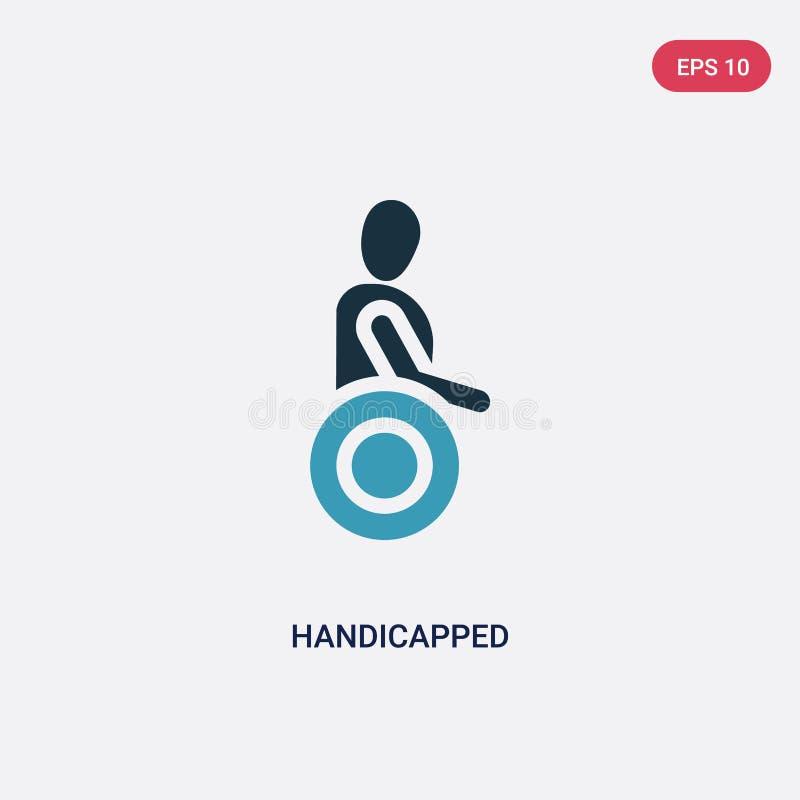 Dwa kolorów niepełnosprawna wektorowa ikona od ludzi pojęć odosobniony błękitny niepełnosprawny wektoru znaka symbol może być uży royalty ilustracja