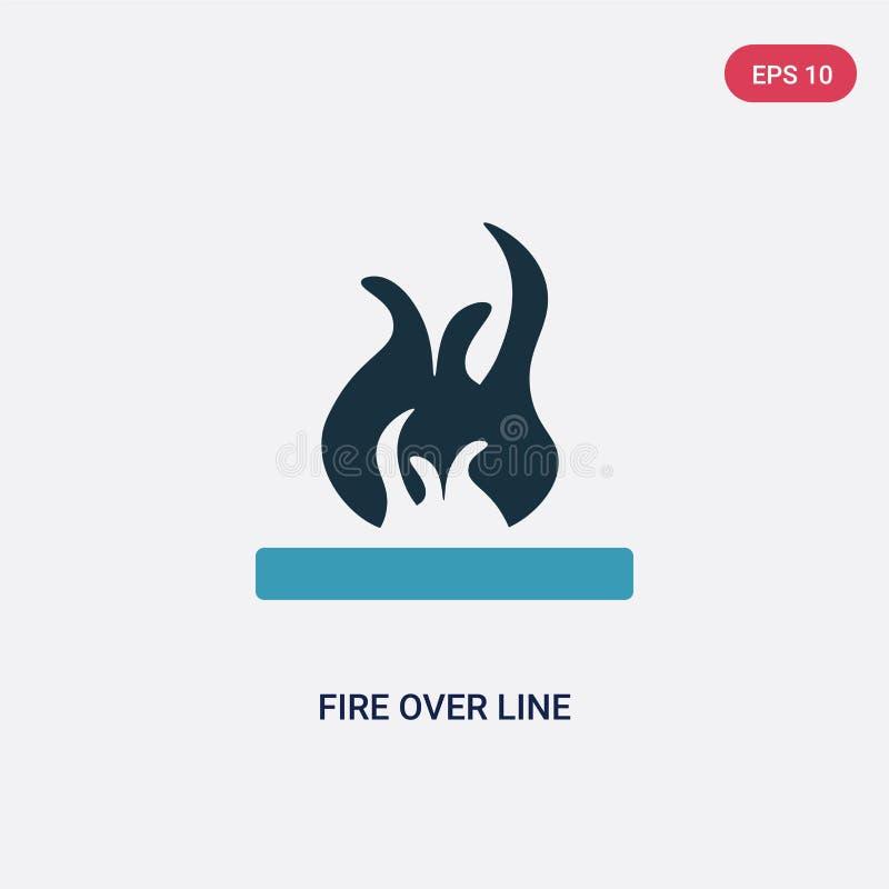 Dwa kolorów ogień nad kreskową wektorową ikoną od kształta pojęcia odosobniony błękita ogień nad kreskowym wektoru znaka symbolem ilustracja wektor