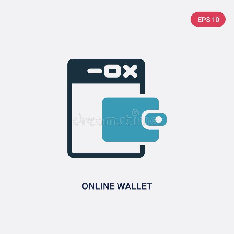 Dwa kolorów online portfla wektorowa ikona od płatniczego metody pojęcia odosobniony błękitny online portfla wektoru znaka symbol ilustracja wektor