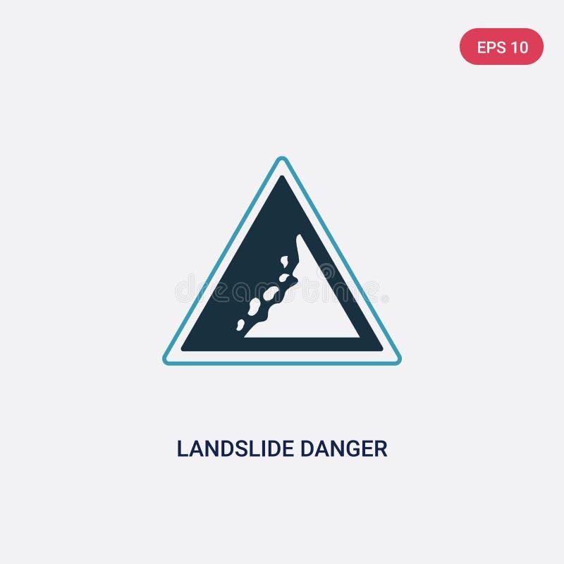 Dwa kolorów osunięcie się ziemi niebezpieczeństwa trójgraniastego ruchu drogowego wektorowa ikona od znaka pojęcia odosobnionego  royalty ilustracja