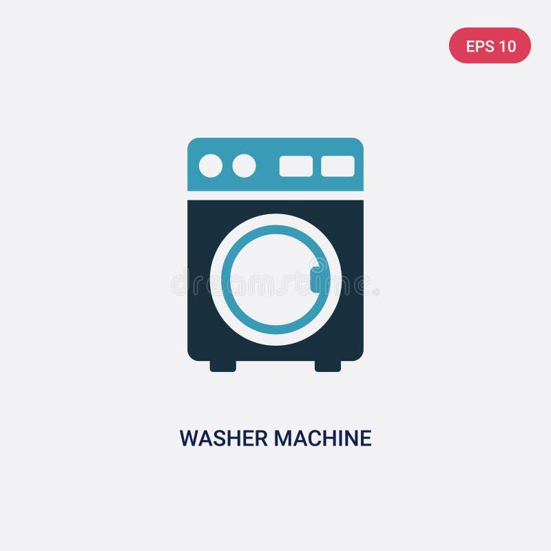 Dwa kolorów płuczki maszynowa wektorowa ikona od mądrze domowego pojęcia odosobnionej błękitnej płuczki wektoru znaka maszynowy s royalty ilustracja