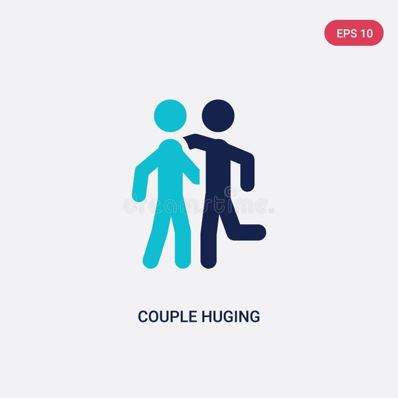 dwa kolorów para huging wektorową ikonę od aktywności i hobby pojęcia odosobnionej błękitnej pary wektoru huging szyldowy symbol  ilustracja wektor