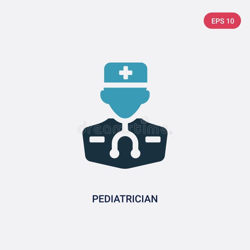 Dwa kolorów pediatry wektorowa ikona od zawodu pojęcia odosobniony błękitny pediatry wektoru znaka symbol może być używa dla siec royalty ilustracja