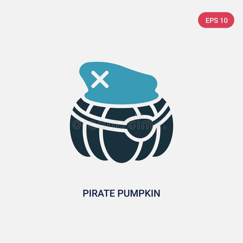 Dwa kolorów pirata dyniowa wektorowa ikona od innego pojęcia odosobnionego błękitnego pirata wektoru znaka dyniowy symbol może by ilustracja wektor