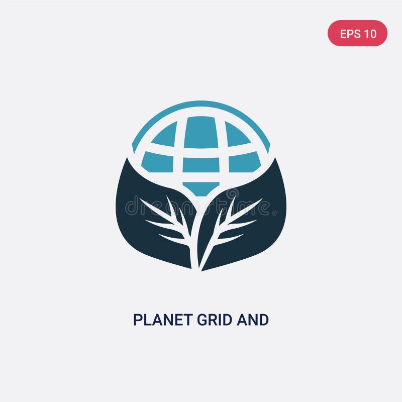 Dwa kolorów planety siatka i liść wektorowa ikona od znaka pojęcia odosobniona błękitna planety siatka i liścia wektoru znaka sym royalty ilustracja