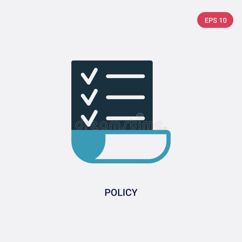 Dwa kolorów polisy wektorowa ikona od strategii pojęcia odosobniony błękitny polisa wektoru znaka symbol może być używa dla sieci ilustracja wektor
