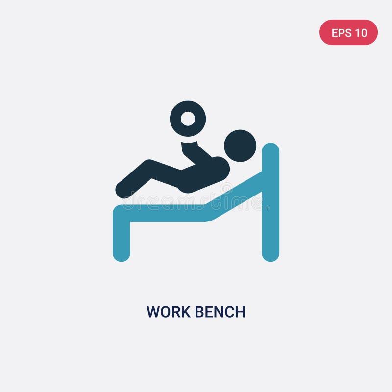 Dwa kolorów pracy ławki wektorowa ikona od sporta pojęcia odosobniony błękitny pracy ławki wektoru znaka symbol może być używa dl royalty ilustracja