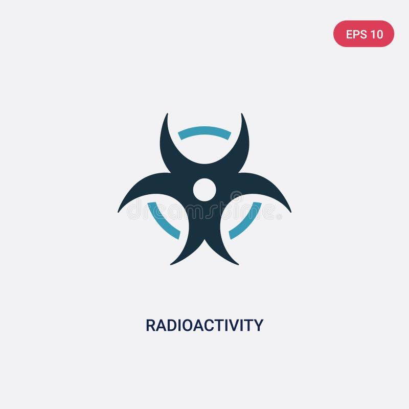 Dwa kolorów promieniotwórczości wektorowa ikona od nauki pojęcia odosobniony błękitny promieniotwórczość wektoru znaka symbol moż royalty ilustracja