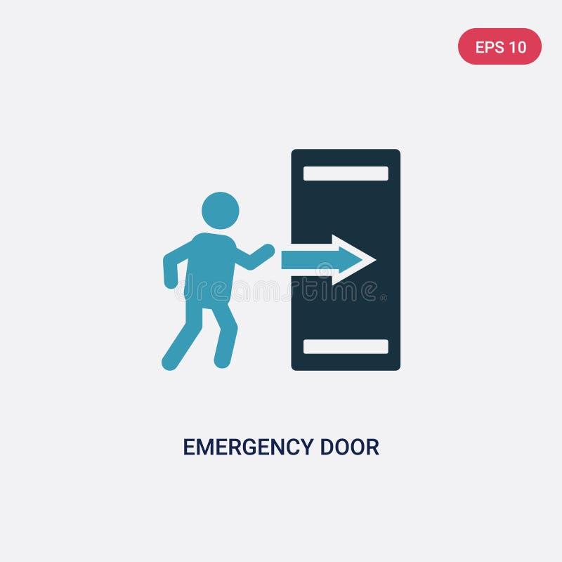 Dwa kolorów przeciwawaryjnego drzwi wektorowa ikona od znaka pojęcia odosobniony błękitny przeciwawaryjnego drzwi wektoru znaka s royalty ilustracja