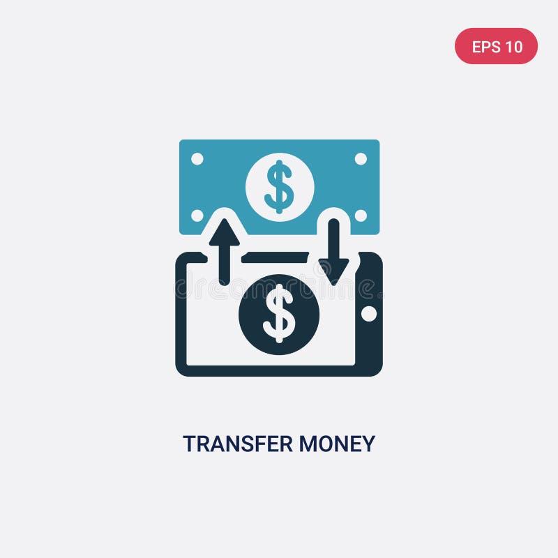 Dwa kolorów przeniesienia pieniądze wektorowa ikona od płatniczego metody pojęcia odosobniony błękitny przeniesienie pieniądze we ilustracji