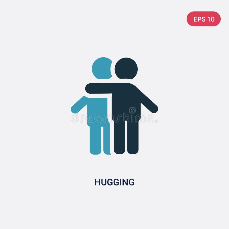 Dwa kolorów przytulenia wektorowa ikona od ludzi pojęć odosobniony błękitny przytulenie wektoru znaka symbol może być używa dla s ilustracji