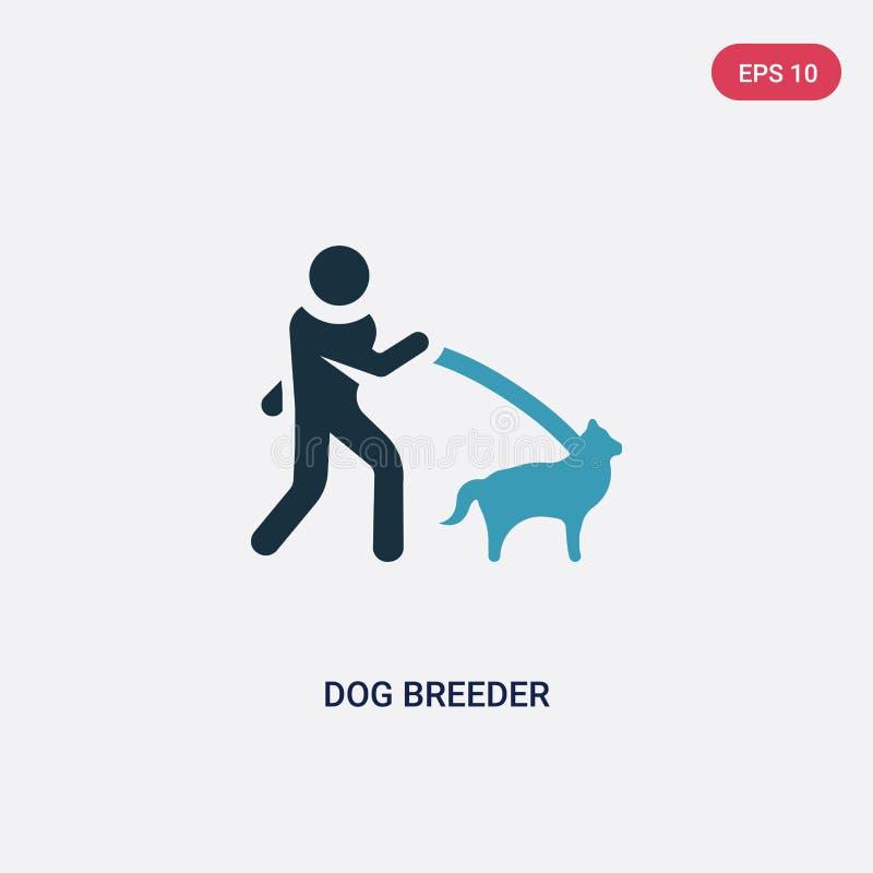 Dwa kolorów psiego rozpłodnika wektorowa ikona od ludzi umiejętności pojęcia odosobniony błękitny psiego rozpłodnika wektoru znak royalty ilustracja