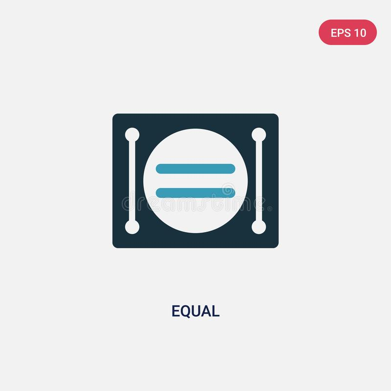 Dwa kolorów równa wektorowa ikona od znaka pojęcia odosobniony błękita równego wektoru znaka symbol może być używa dla sieci, wis royalty ilustracja