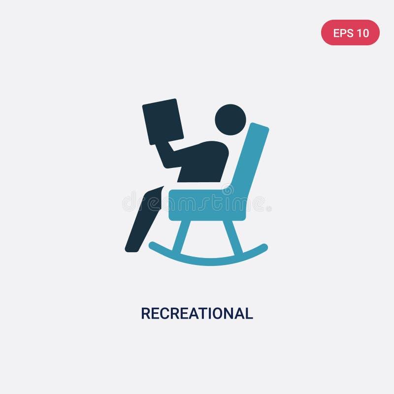 Dwa kolorów rekreacyjna wektorowa ikona od ogólnospołecznego pojęcia odosobniony błękitny rekreacyjny wektoru znaka symbol może b ilustracji