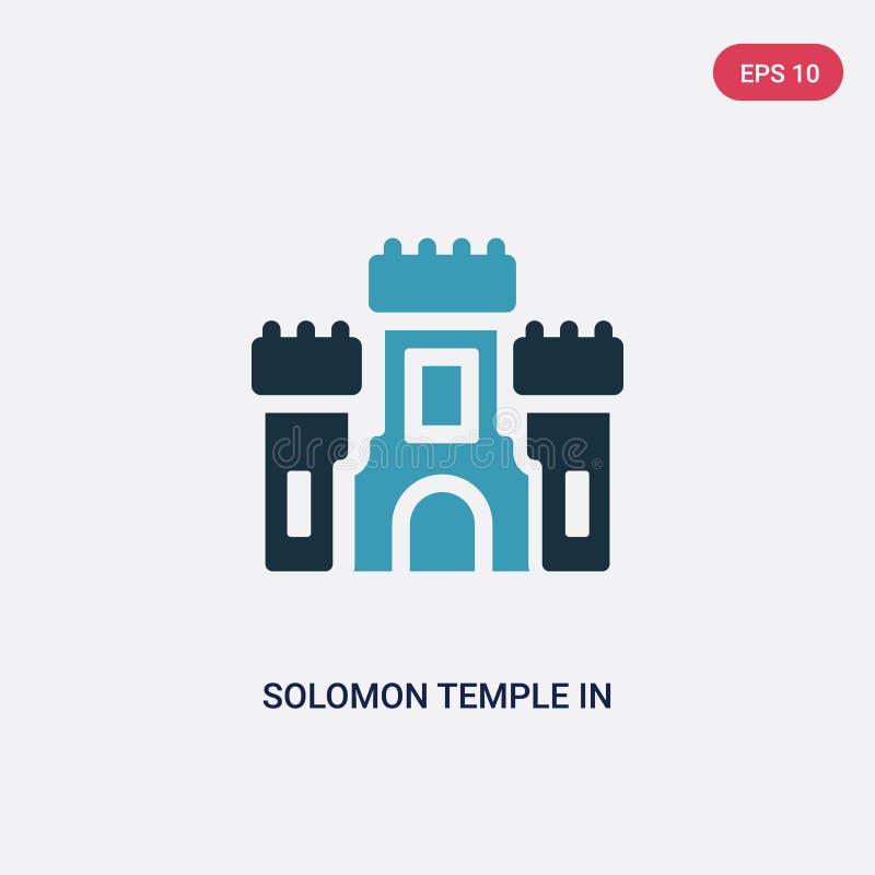Dwa kolorów solomon świątynia w Jerusalem wektorowej ikonie od religii pojęcia odosobniona błękitna solomon świątynia w Jerusalem royalty ilustracja