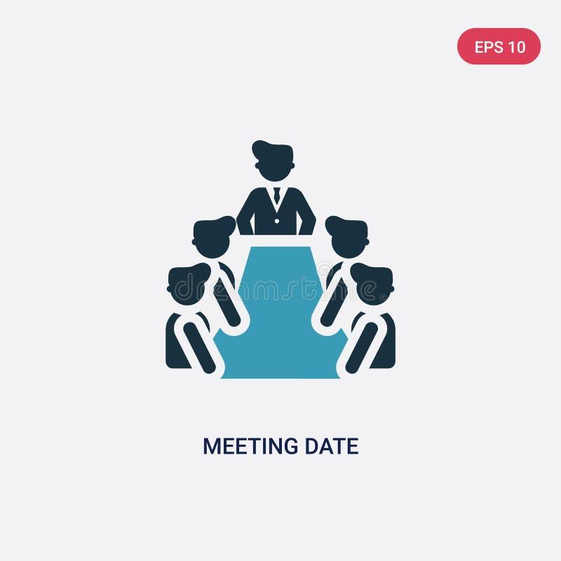 Dwa kolorów spotkania daty wektorowa ikona od ludzi pojęć odosobniony błękitny spotkanie daty wektoru znaka symbol może być używa ilustracji
