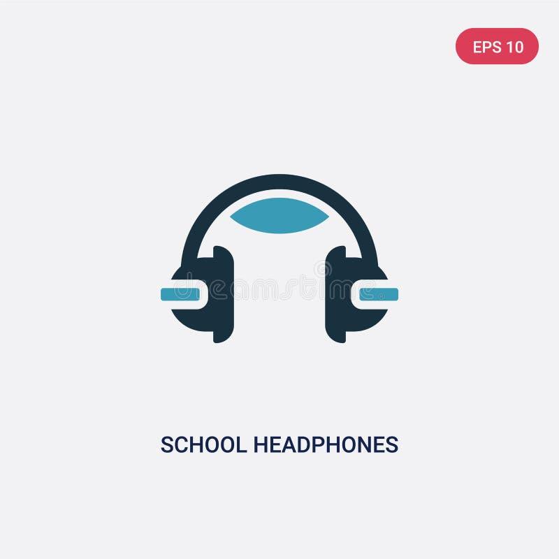 Dwa kolorów szkolnych hełmofonów wektorowa ikona od muzycznego pojęcia odosobneni błękit szkoły hełmofony używają dla sieci wekto ilustracji