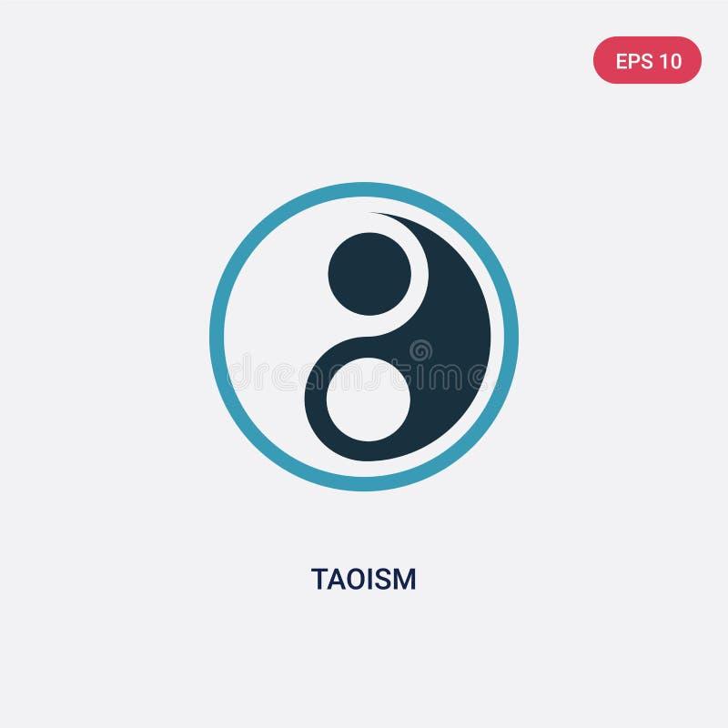 Dwa kolorów taoism wektorowa ikona od religii pojęcia odosobniony błękitny taoism wektoru znaka symbol może być używa dla sieci,  royalty ilustracja