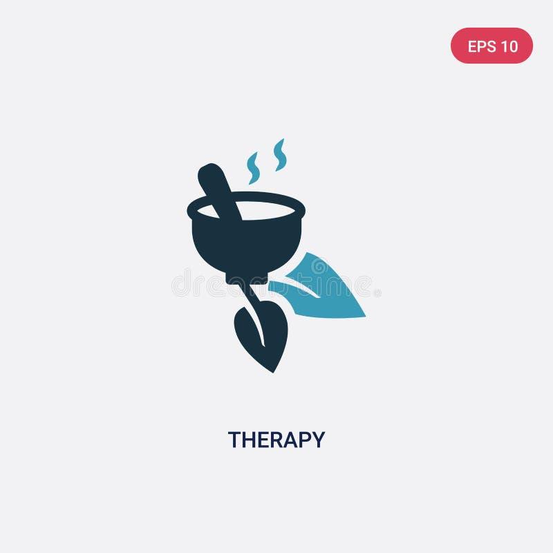 Dwa kolorów terapii wektorowa ikona od natury pojęcia odosobniony błękitny terapia wektoru znaka symbol może być używa dla sieci, royalty ilustracja
