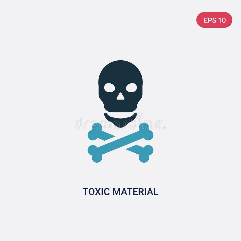 Dwa kolorów toksyczna materialna wektorowa ikona od znaka pojęcia odosobniony błękitny toksyczny materialny wektoru znaka symbol  ilustracja wektor