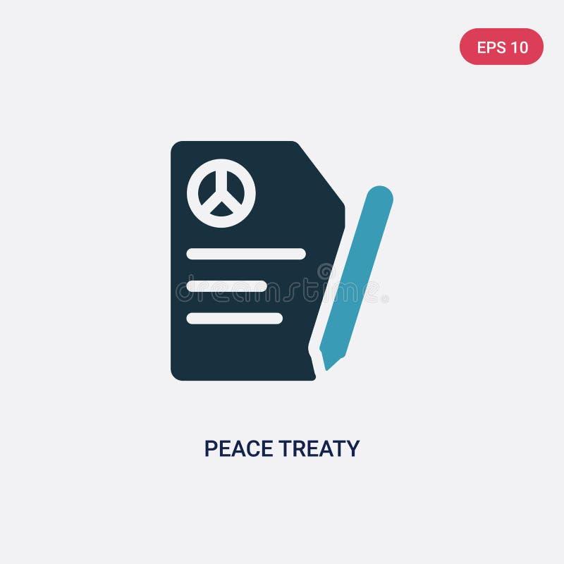 Dwa kolorów traktatu pokojowego wektorowa ikona od politycznego pojęcia odosobniony błękitny traktatu pokojowego wektoru znaka sy ilustracja wektor