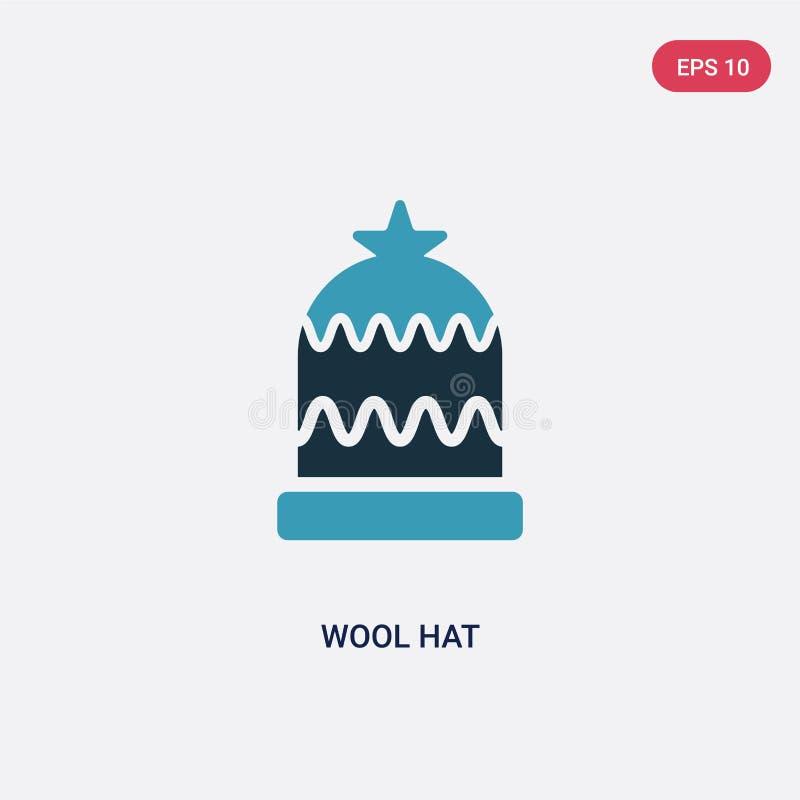 Dwa kolorów wełny kapeluszowa wektorowa ikona od znaka pojęcia odosobnionej błękitnej wełny wektoru znaka kapeluszowy symbol może ilustracji