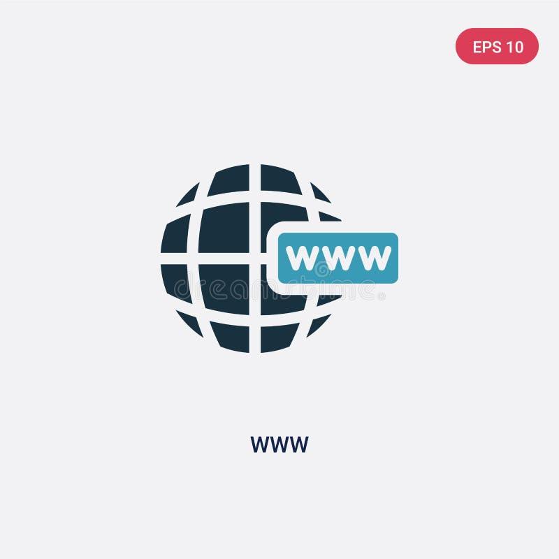Dwa kolorów Www wektorowa ikona od programowania pojęcia odosobniony błękitny Www wektoru znaka symbol może być używa dla sieci,  royalty ilustracja