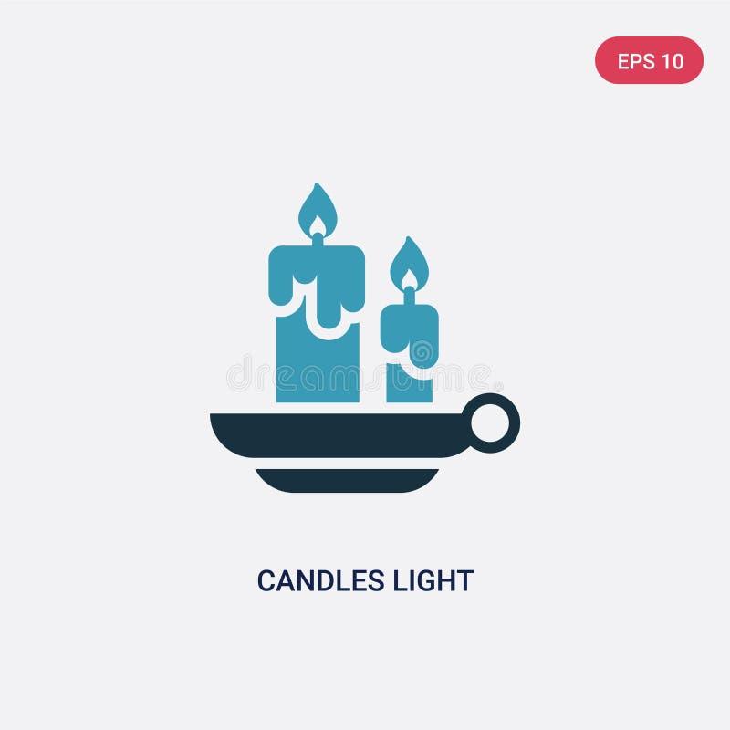 Dwa kolor świeczki zaświecają wektorową ikonę od ochrony pojęcia odosobnione błękitne świeczki lekkiego wektoru znaka symbolu mog ilustracja wektor
