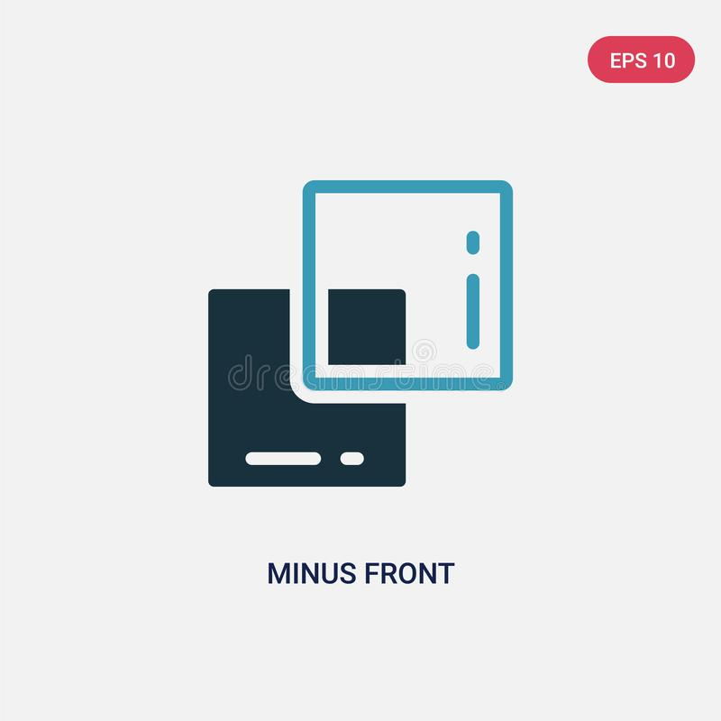Dwa kolor minus frontowa wektorowa ikona od kształta pojęcia odosobniony błękit minus frontowy wektoru znaka symbol może być używ ilustracja wektor