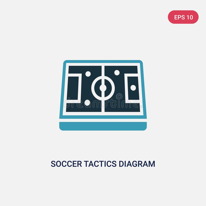 Dwa kolor piłki nożnej taktyk diagrama wektorowa ikona od produktywności pojęcia odosobniony błękitny piłek nożnych taktyk diagra ilustracja wektor