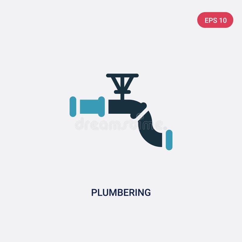 Dwa kolor plumbering wektorową ikonę od innego pojęcia odosobniony błękitny plumbering wektoru szyldowy symbol może być używa dla ilustracja wektor