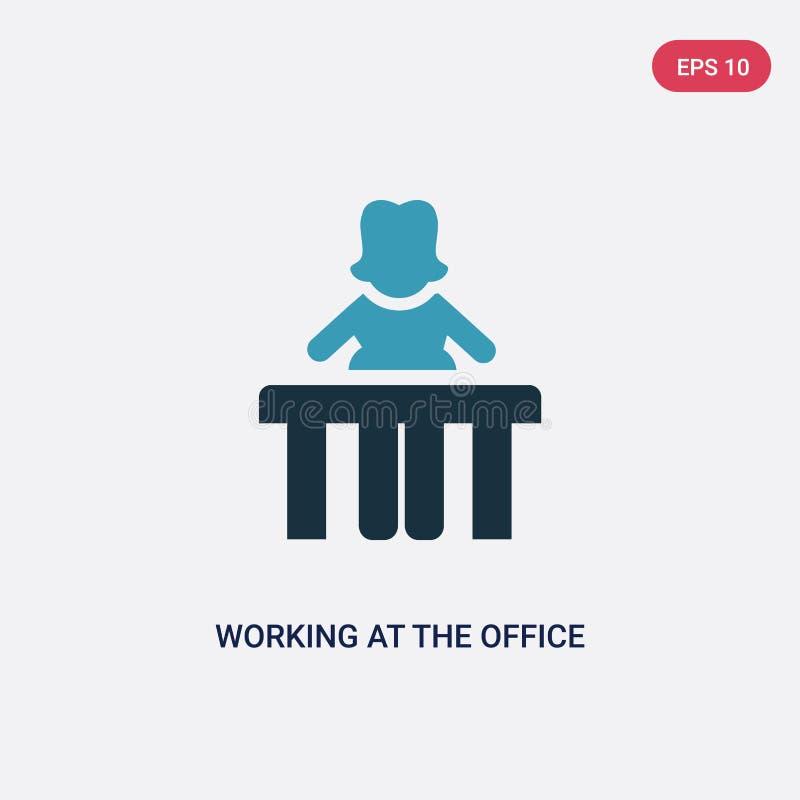 Dwa kolor pracuje przy biurową wektorową ikoną od ludzi pojęć odosobniony błękitny działanie przy biurowym wektoru znaka symbolem royalty ilustracja