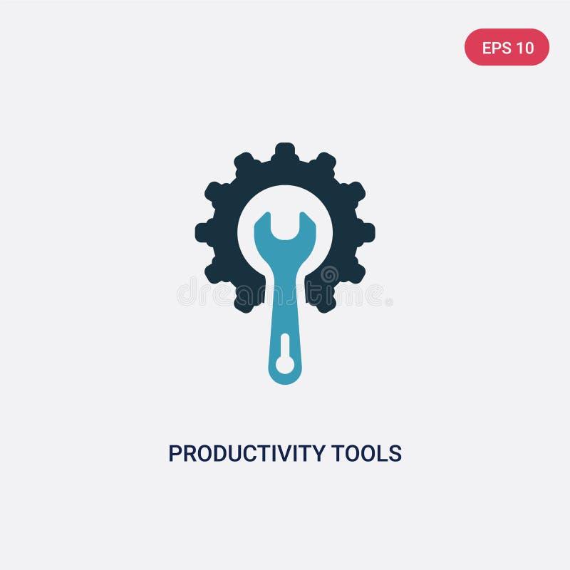 Dwa kolor produktywności narzędzi wektorowa ikona od produktywności pojęcia odosobneni błękitni produktywność narzędzia używają w royalty ilustracja