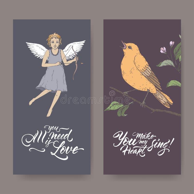 Dwa kolor walentynki romantycznego sztandaru z amorkiem, singin ptakiem i muśnięcia literowaniem, ilustracja wektor