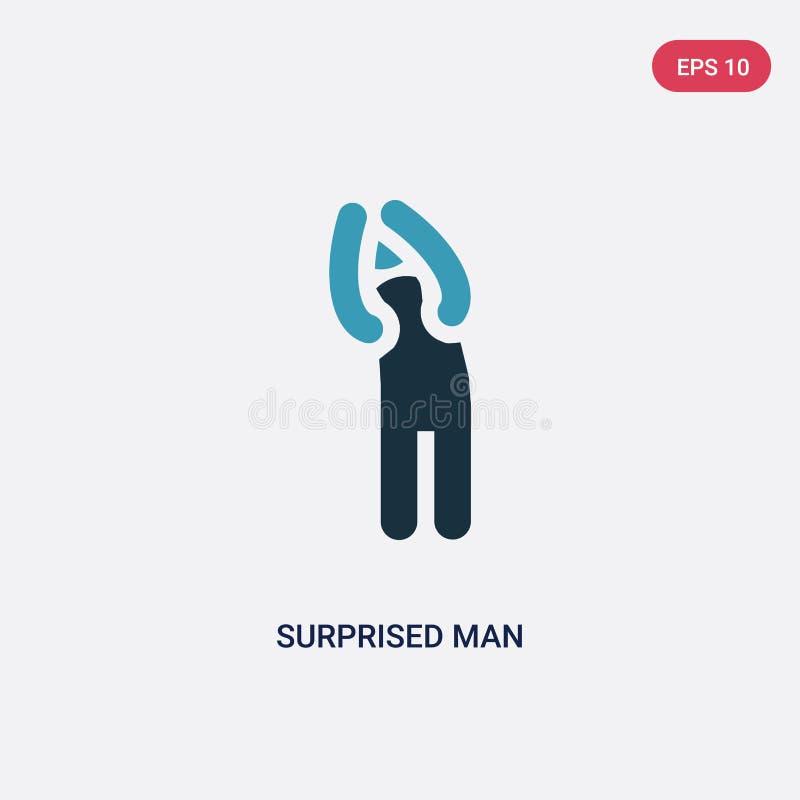 Dwa kolor zaskakiwał mężczyzna wektorową ikonę od ludzi pojęć odosobniony błękitny zdziwiony mężczyzny wektoru znaka symbol może  ilustracja wektor