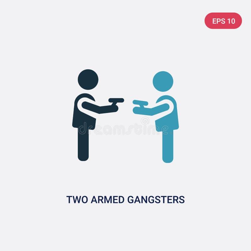 Dwa dwa kolor zbroił gangsterów wskazuje each inny z ich ręki wektorową ikoną od ludzi pojęć odosobniony błękit dwa zbrojący royalty ilustracja