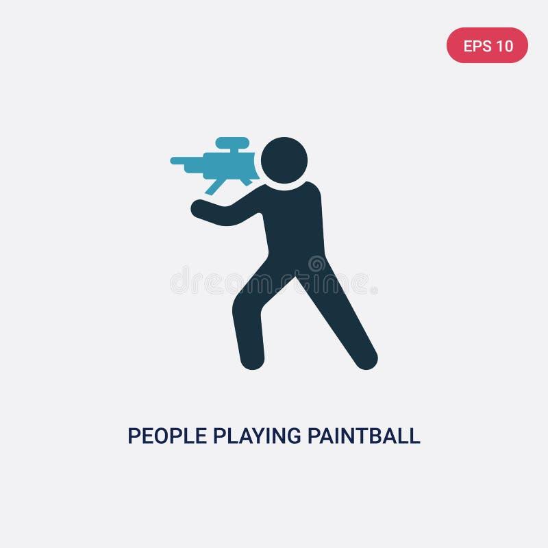 Dwa koloru ludzie bawić się paintball wektorową ikonę od rekreacyjnego gry pojęcia odosobneni błękitni ludzie bawić się paintball royalty ilustracja