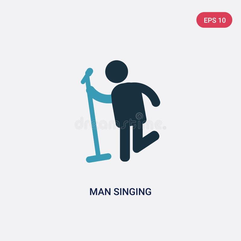 Dwa koloru mężczyzny śpiewacka wektorowa ikona od ludzi pojęć odosobnionego błękitnego mężczyzny wektoru znaka śpiewacki symbol m ilustracji