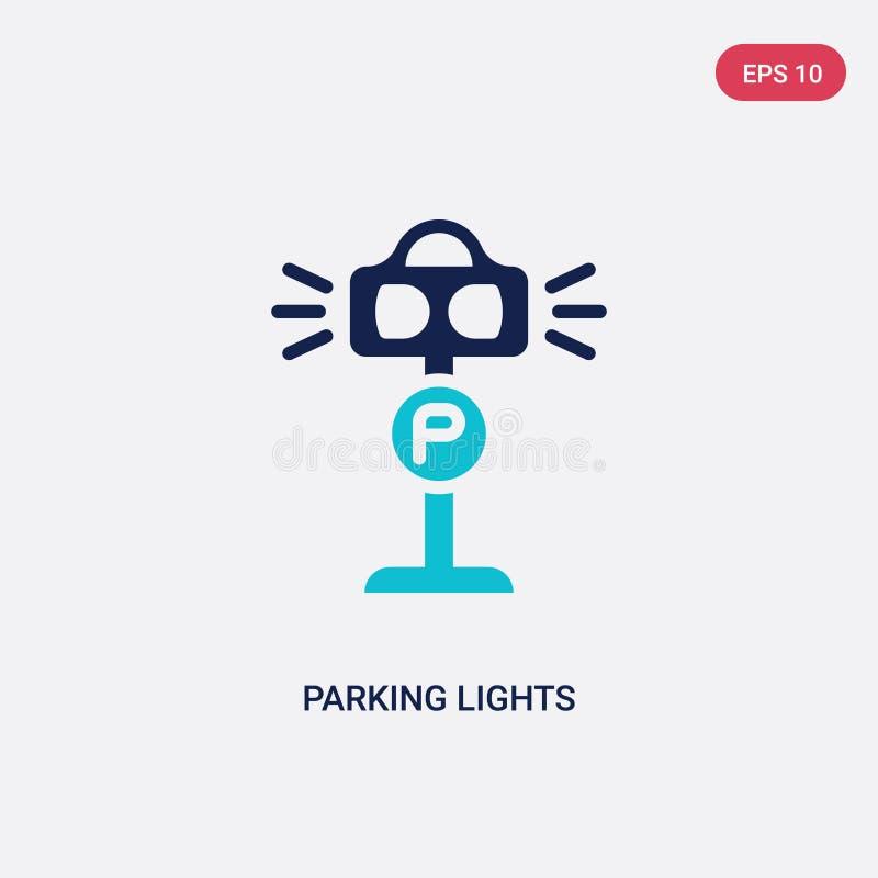 Dwa koloru parking świateł wektorowa ikona od architektury i miasta pojęcia odosobniony błękitny parking świateł wektoru znaka sy ilustracja wektor