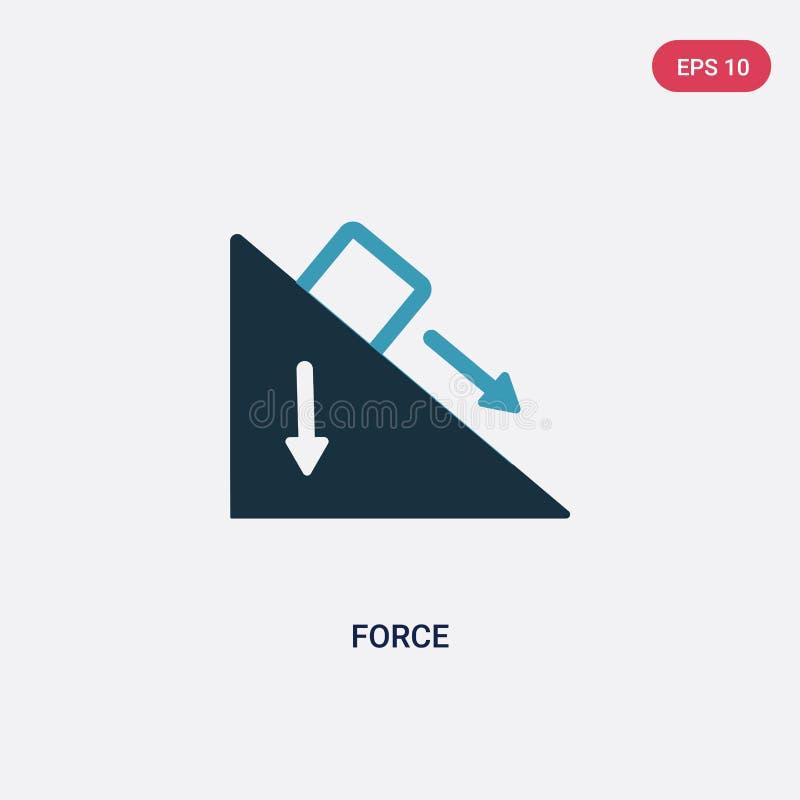 Dwa koloru siły wektorowa ikona od nauki pojęcia odosobniony błękitny siła wektoru znaka symbol może być używa dla sieci, wiszące royalty ilustracja