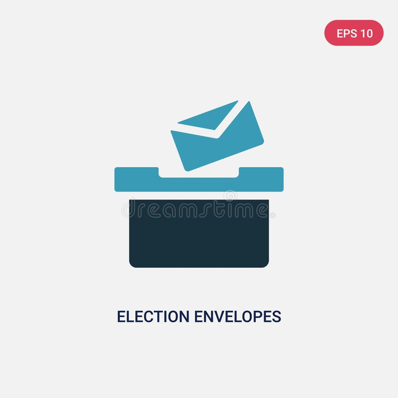Dwa koloru wybory koperty i pudełkowatej wektorowej ikona od politycznego pojęcia odosobnione błękitne wybory koperty i pudełkowa ilustracja wektor