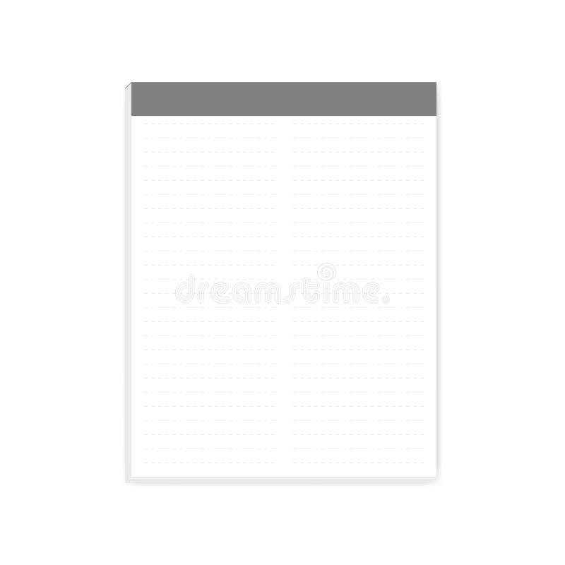 Dwa kolumna ciskał prążkowanego wierzchołka nutowego papieru listu rozmiaru blok, mockup royalty ilustracja