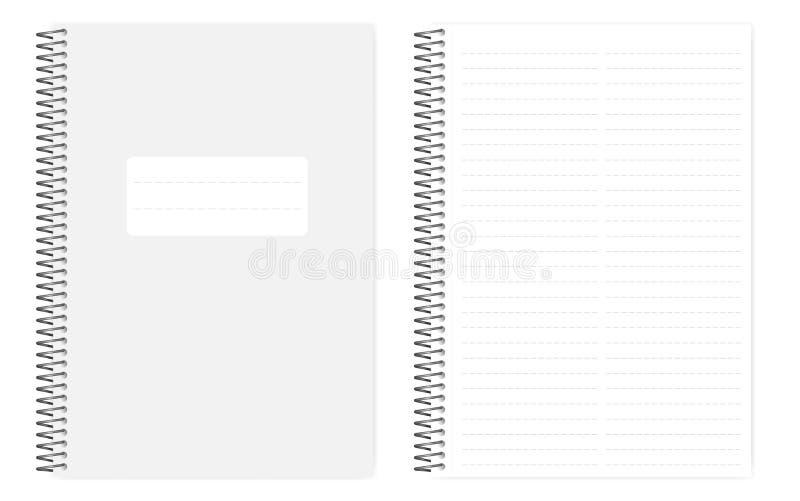 Dwa kolumny ciskający kreskowy notatnik z bocznym dziurkowaniem ciąć na arkusze royalty ilustracja