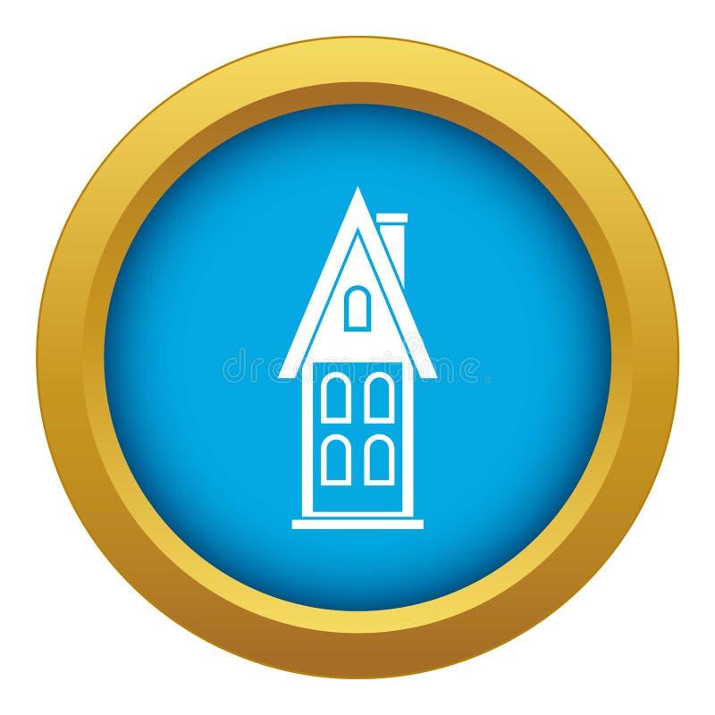 Dwa kondygnacji dom z strychowej ikony błękitnym wektorem odizolowywającym royalty ilustracja