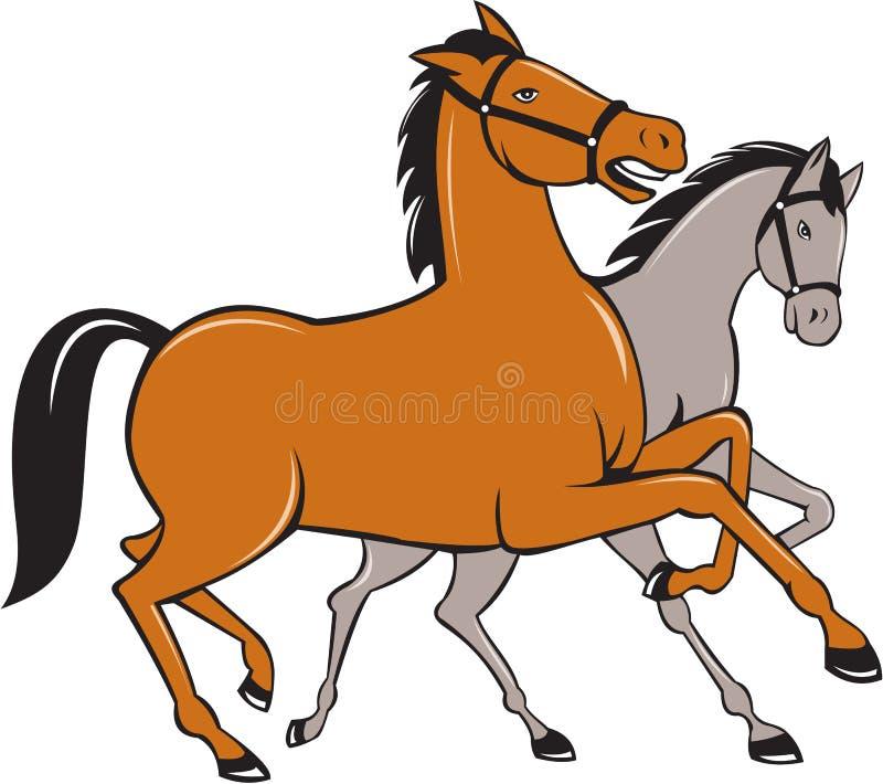 Dwa koni Pyszni się Boczna kreskówka royalty ilustracja