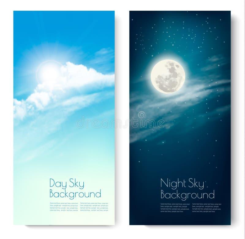 Dwa kontrastującego niebo sztandaru - dzień i noc royalty ilustracja