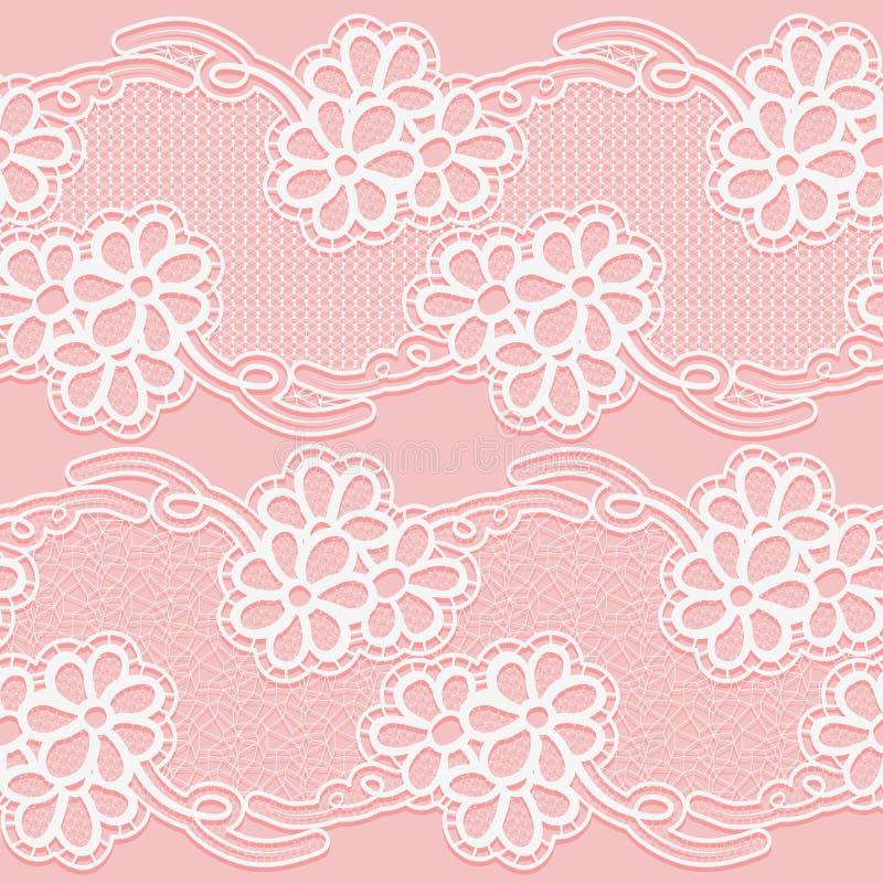 Dwa Koronkowego faborku Bezszwowa biała kwiecista taśma na różowym tle ilustracja wektor