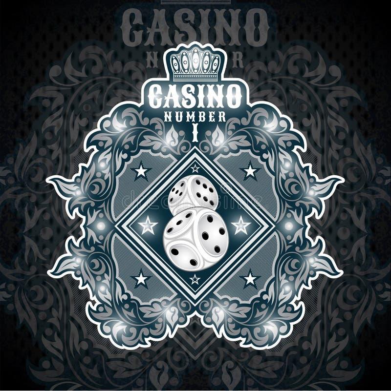 Dwa kostki do gry w centrum błękitny sztandar z srebro wzorem Bawi się logo dla jakaś boardgame lub kasyna wszystkie gwiazda ilustracji